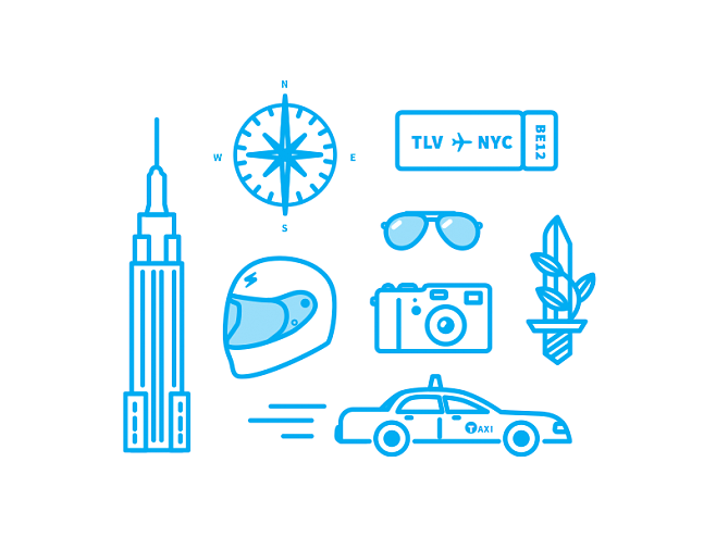 NYC travel icons
